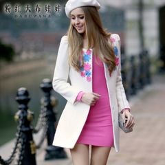 Coat pink rag doll woman 2015 coat nail color for fall/winter flowers in long woolen coat