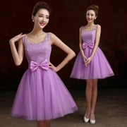 Fashionable short gowns 2015 new style bridesmaid dresses purple dresses lace wedding dress bridesmaid dress