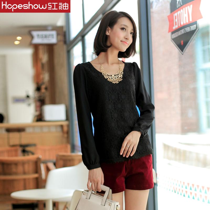 【冬装清仓】红袖新款 韩版衬衫 长袖蕾丝衬衫衬衣E1450633