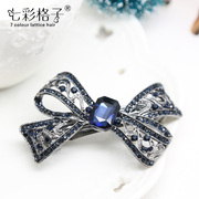 Colorful Plaid openwork Butterfly hair ornament Korea vintage rhinestone jewelry Heng clip spring clip, Hairpin A0351