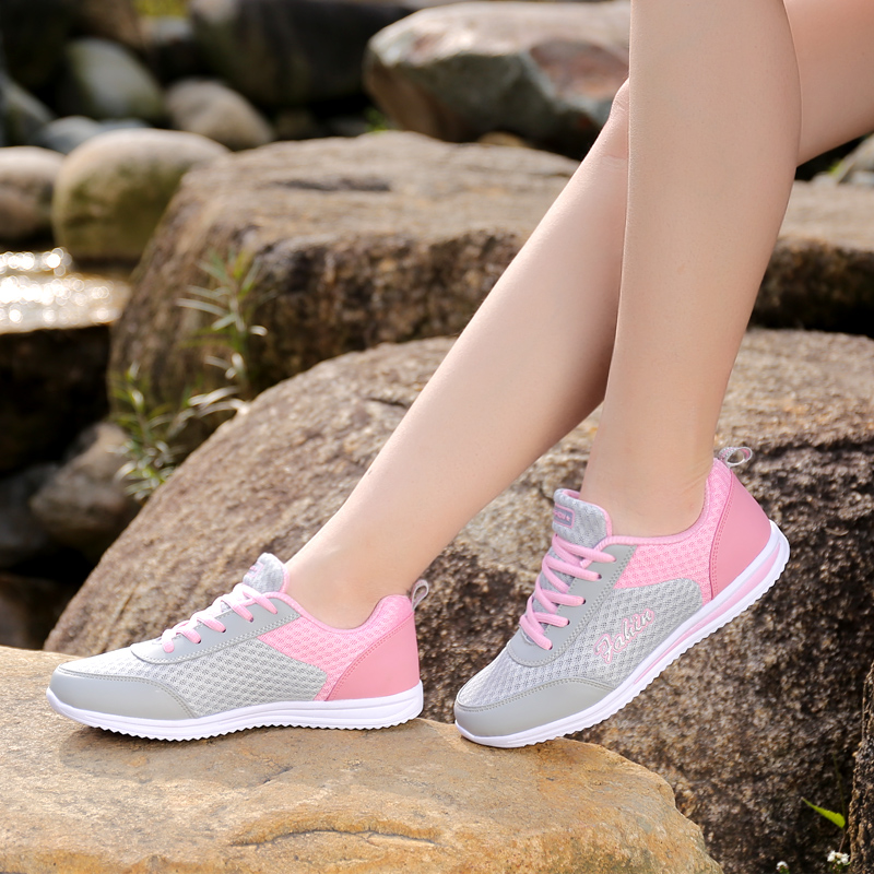 春秋季运动鞋女生跑步鞋透气百搭平底防滑舒适轻便休闲学生旅游鞋