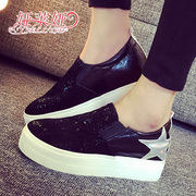 -Fall 2015 new Korean casual student sailing shoes lazy one pedal women love shoes platform high shoes