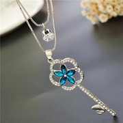 Love necklace Korean five leaf flower key fall/winter accessories Joker double sweaters chain decorative pendant-mail