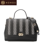 Honggu red Valley woman counters authentic classic black and white woven patterns leather handbag 6940