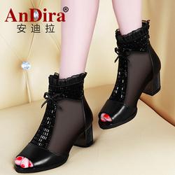 安迪拉真皮春秋女靴时尚短网靴单靴鱼嘴鞋中跟罗马女凉鞋凉靴女鞋