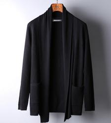 春季男装开衫外套纯色羊毛 男士修身针织毛衣开衫外套