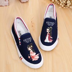 春季百搭低帮套脚平跟韩版女学生休闲平底涂鸦帆布鞋一脚蹬懒人鞋