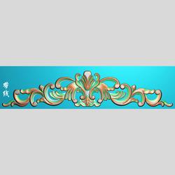 欧式洋花精雕图木门床头洋花贴花精雕图帽花灰度图MD-024帽花带线