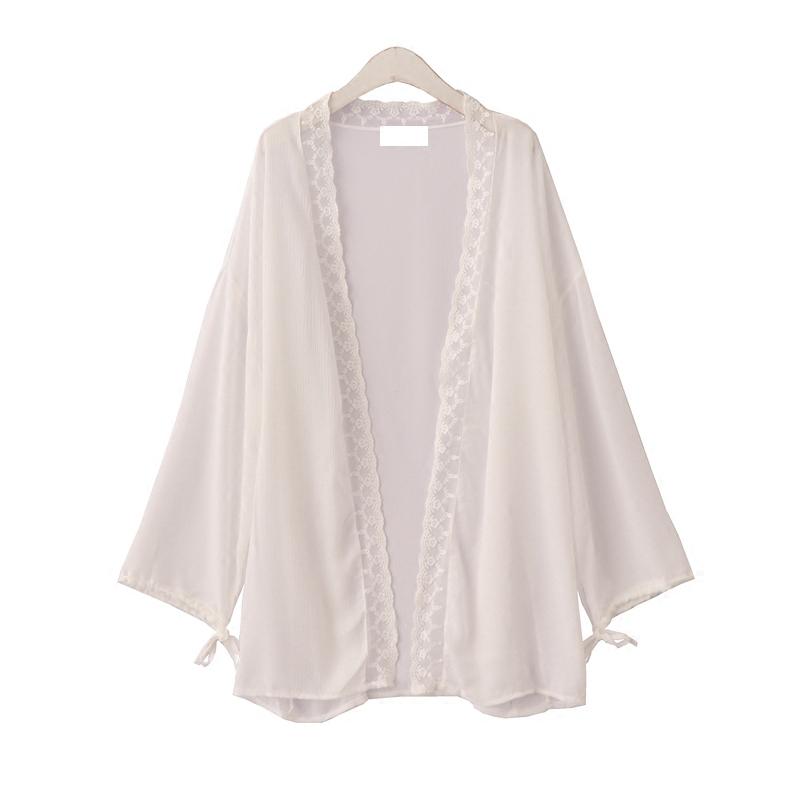 自制森系复古蕾丝拼接中长款雪纺外套宽松长袖系带空调开衫女薄款