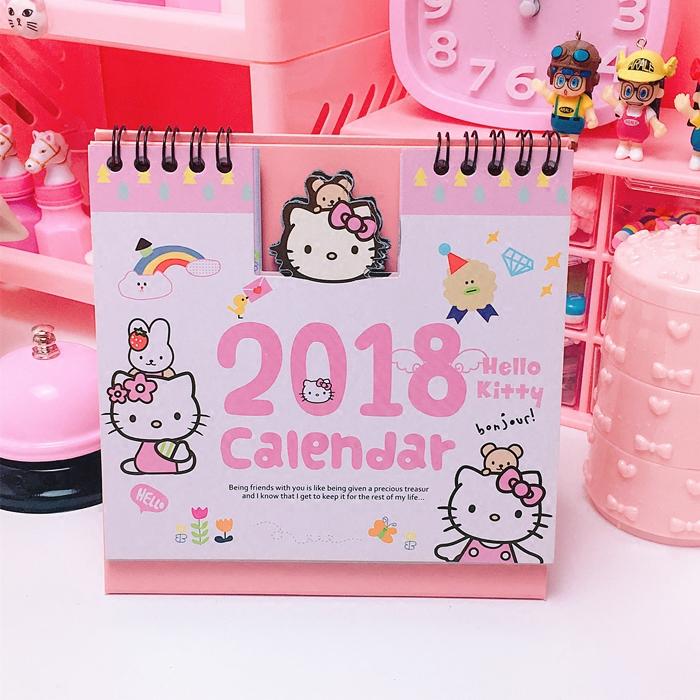 卡通可爱猫咪2018年桌面日历农历记事历可爱喵咪学生桌面留言日历