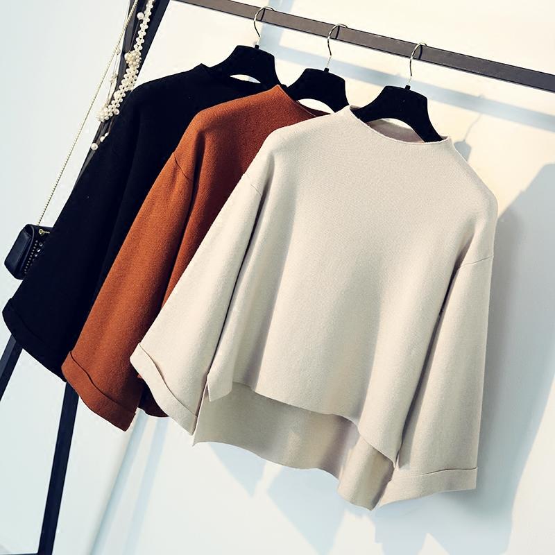 2017秋季新款女装韩版宽松显瘦套头长袖加厚毛衣针织打底短款上衣