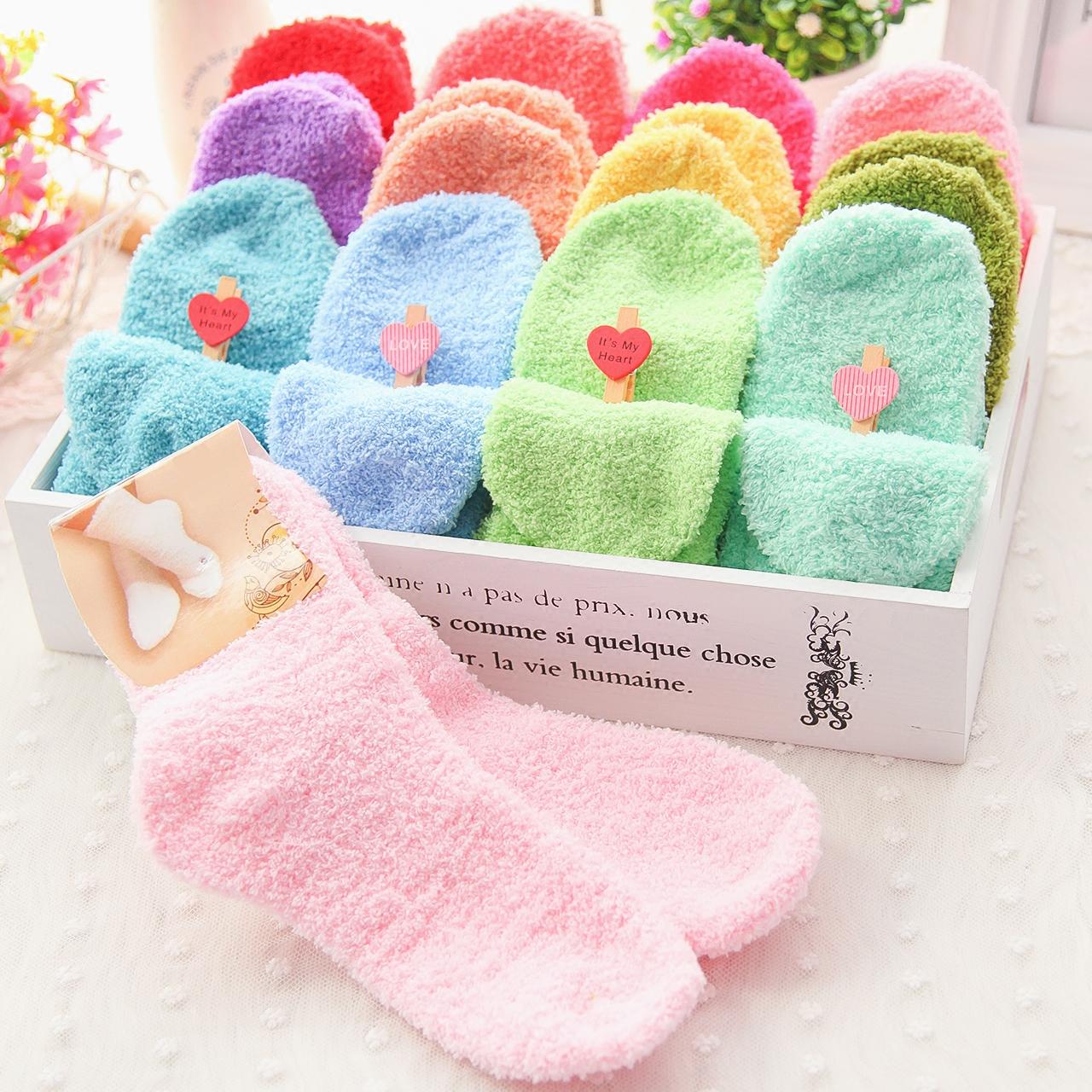 6双包邮!秋季冬季韩国可爱糖果纯色舒适中筒女士珊瑚绒毛巾袜子