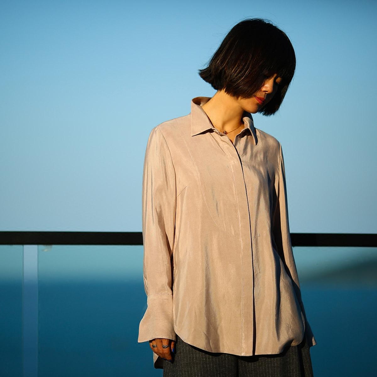【DADINKOWA卢旺达的鱼原创设计】铜氨丝衬衫D17D63