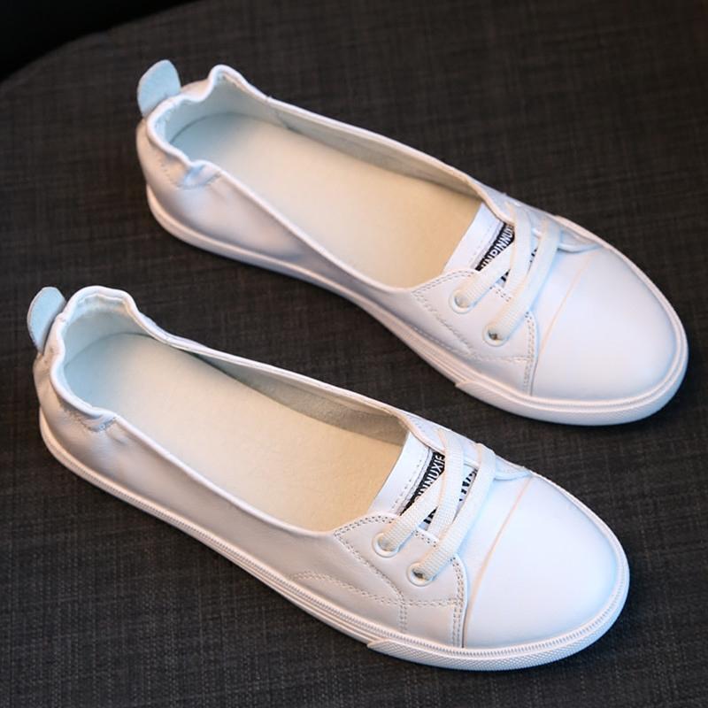真皮浅口小白鞋女2018夏季新款平底休闲韩版旅游开车孕妇学生板鞋