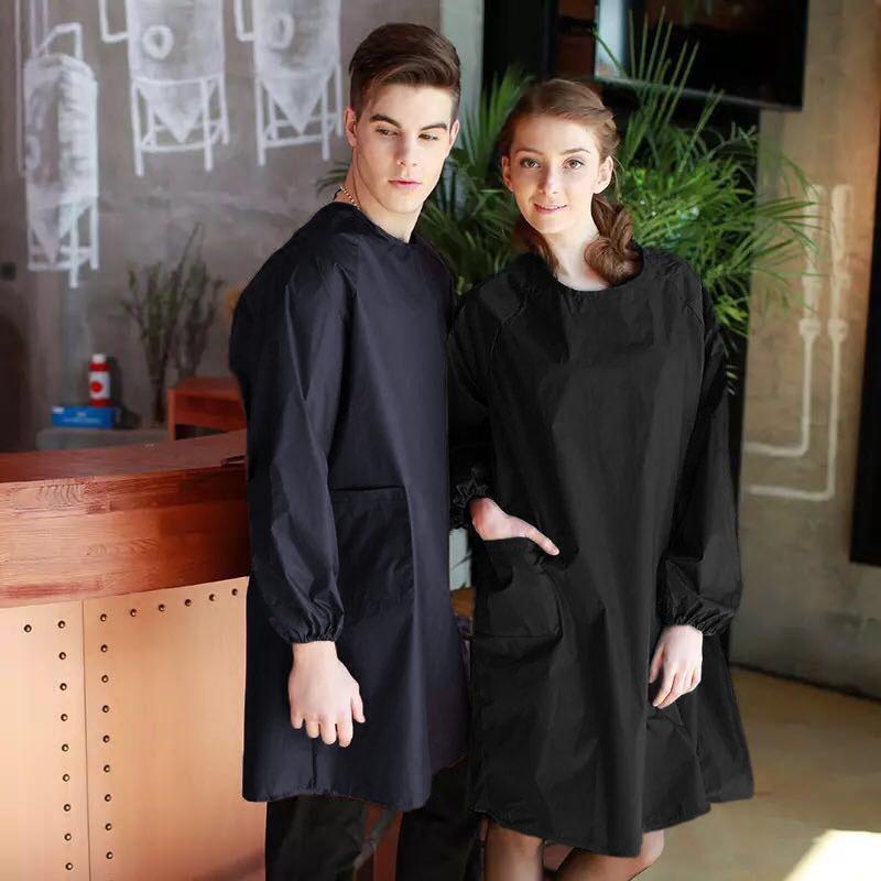 男士纯色围裙男女光滑布厨房长袖黑色罩衣成人反穿衣时尚工作服