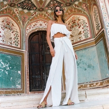 沙滩裙裤女夏性感旅拍ar7边度假一os阔腿连体长裤两件套装
