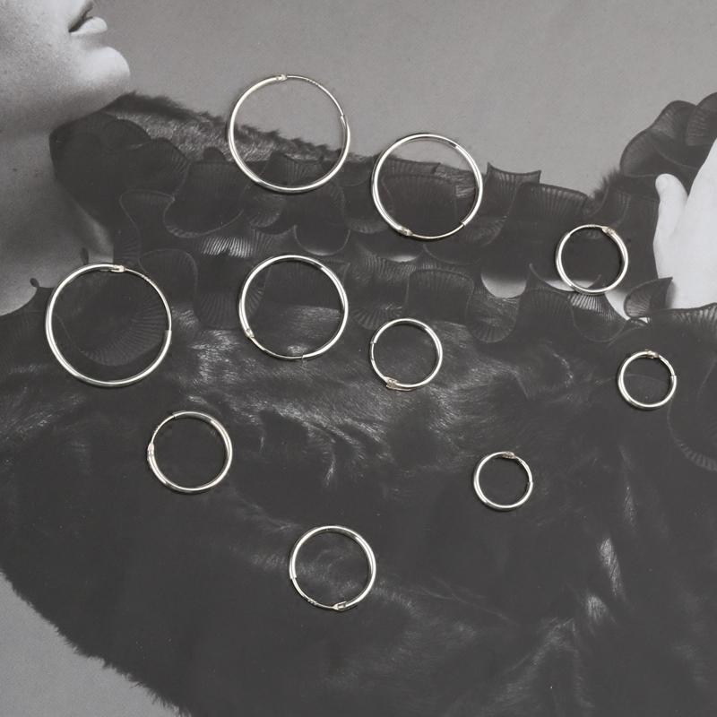 时尚简约气质通体s925纯银圆环耳环女摩登简约百搭耳钉耳饰品