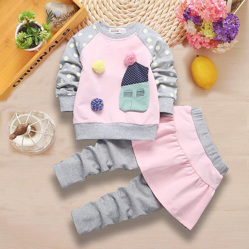 女童纯棉卫衣两件套秋季4婴儿童装衣服3岁女宝宝2春秋5公主裙套装