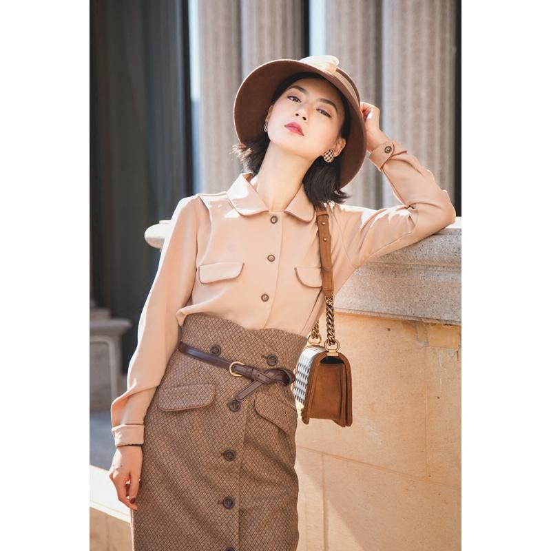 秋冬衬衫女长袖2017新款法式复古上衣单排扣显瘦优雅纯色衬衣