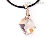 Package mail smiling square cut Crystal Necklace pendant Korean version of the simple and elegant black rope necklace