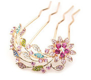 H011 good jewelry hair fork 2015 new jewelry rhinestone hair comb hair accessory Korea Sun flower