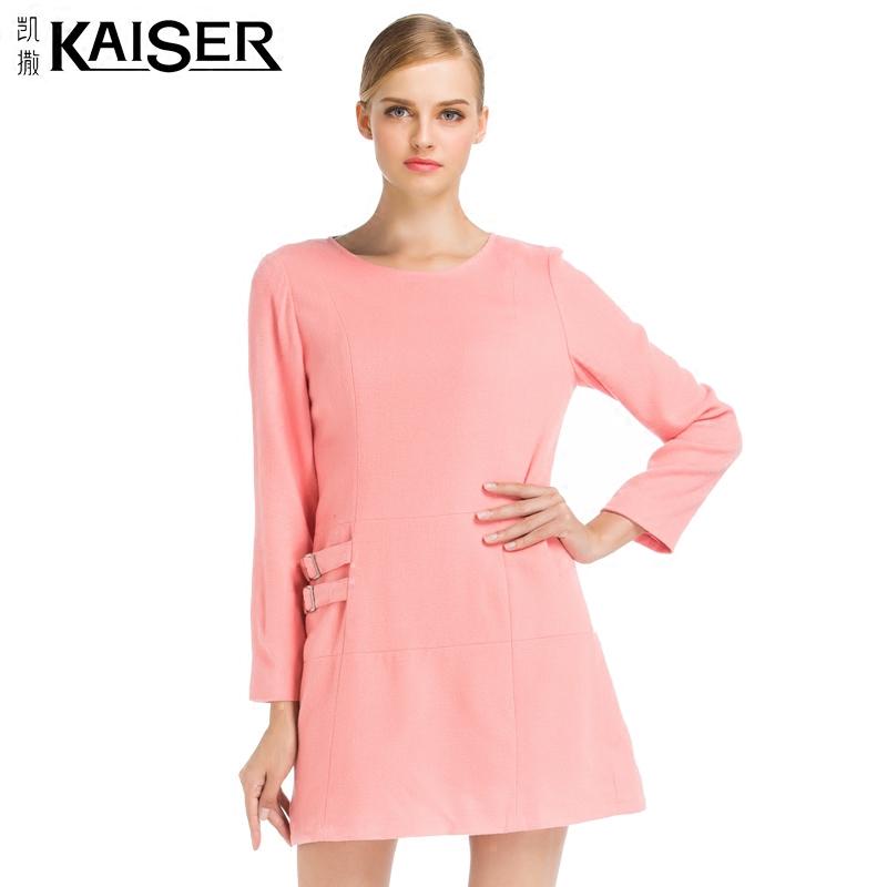 Kaiser/凯撒2017秋季新品修身圆领长袖高端羊毛连衣裙KFWCF16956