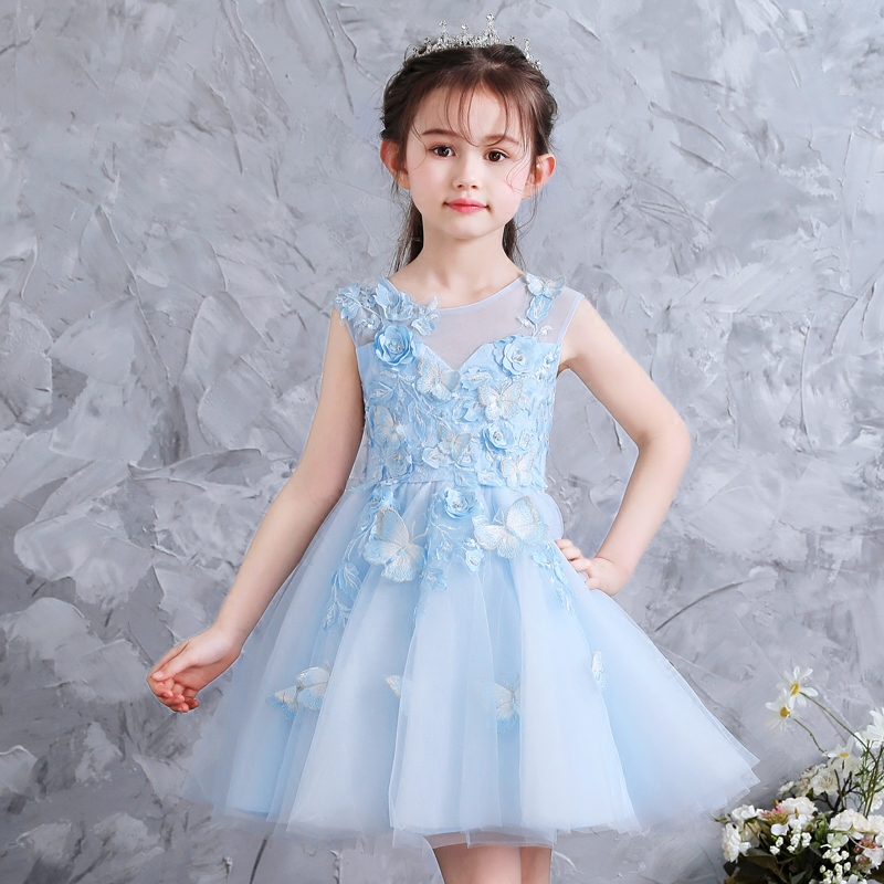 Girl's wedding dress poncho dress girl's children's show birthday evening dress princess skirt noble flower children's piano performance clothes