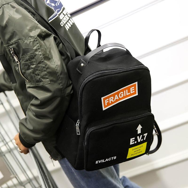 潮流帆布双肩包男 中学生休闲时尚迷你书包 立体有型旅行小号背包