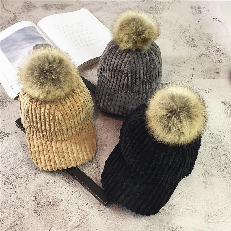帽子女秋冬韩版百搭毛球棒球帽时尚学生冬季加厚可爱街头鸭舌帽潮