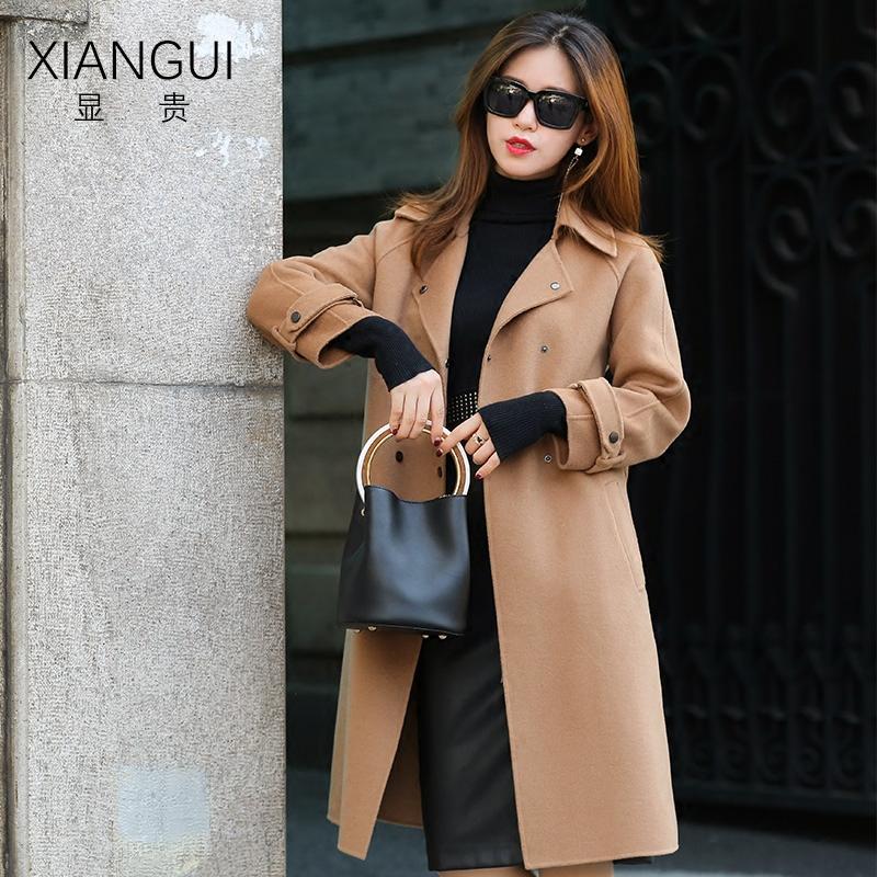 显贵2017新款韩版双面呢子中长款系腰带羊绒气质时尚大衣女冬外套