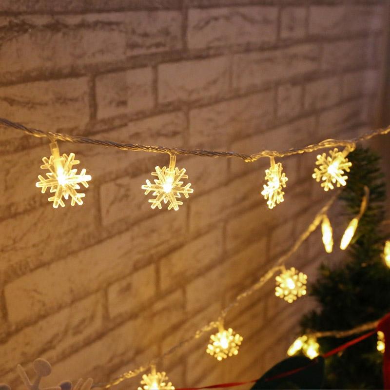 led小雪花彩灯闪灯串灯满天星星卧室装饰网红房间布置圣诞树挂灯