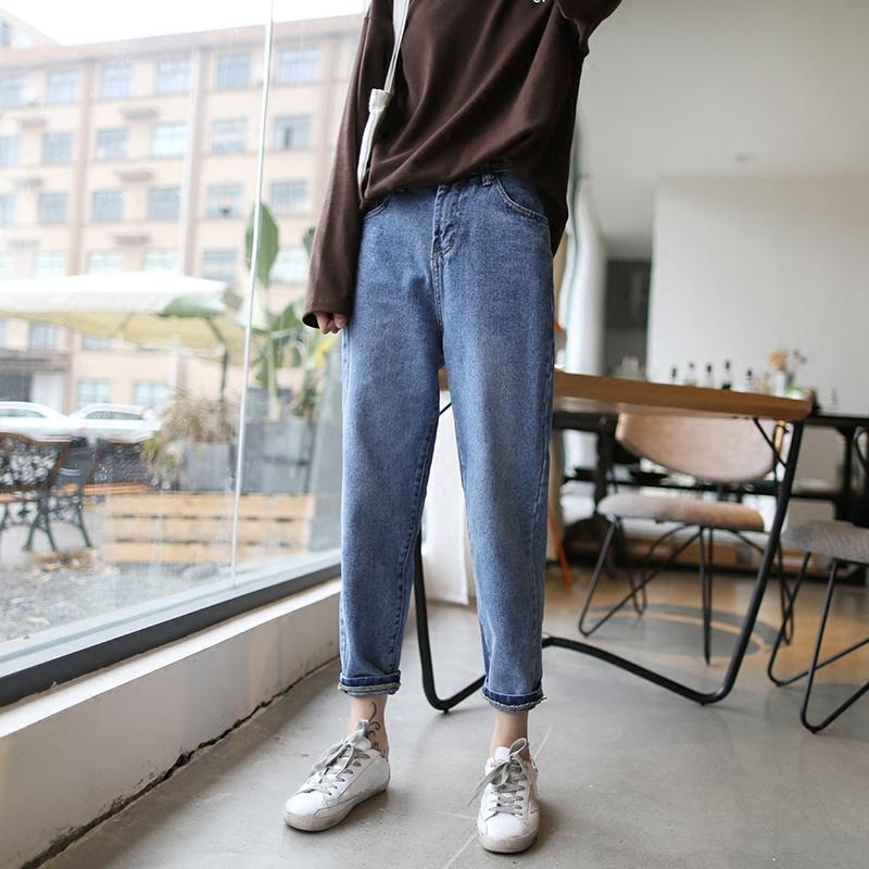 鱼屿 白色九分牛仔裤女 春款高腰哈伦裤chic显瘦学生萝卜裤小脚裤