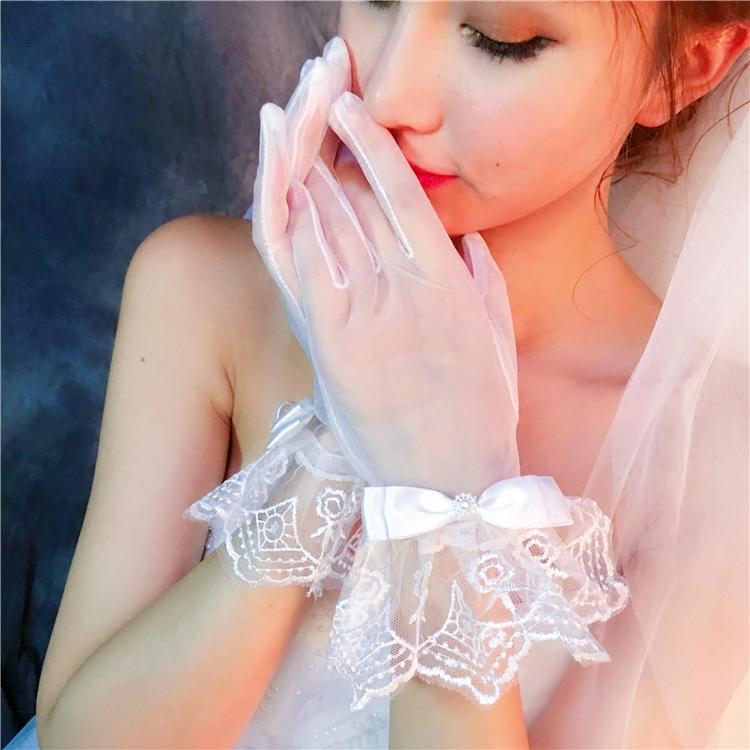 新款婚纱手套新娘手套礼服配件蕾丝短款蝴蝶结韩式包邮KSHBblLHvb