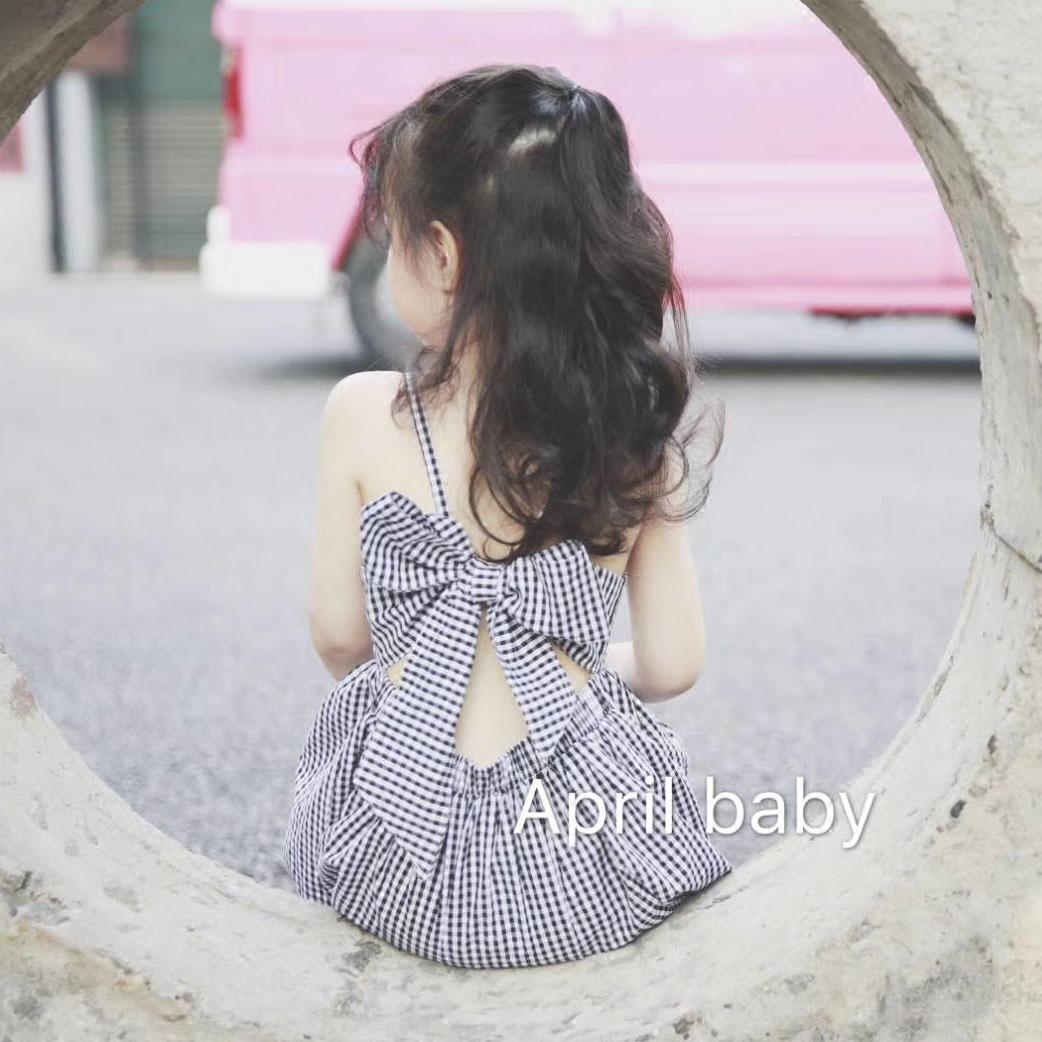 女童 连衣裙 夏季 新款 童装 休闲 露背 蝴蝶结 时尚 格子 吊带裙