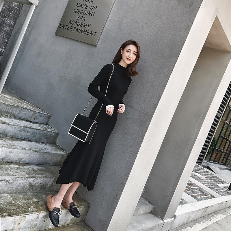珊珊 2017秋装新款气质韩范黑色复古长款鱼尾针织长袖连衣裙子