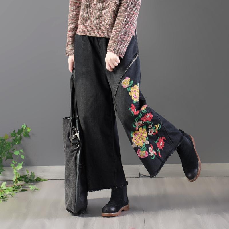 园园美衣文艺民族风刺绣黑色牛仔裤女松紧腰毛边宽松阔腿裤九分裤
