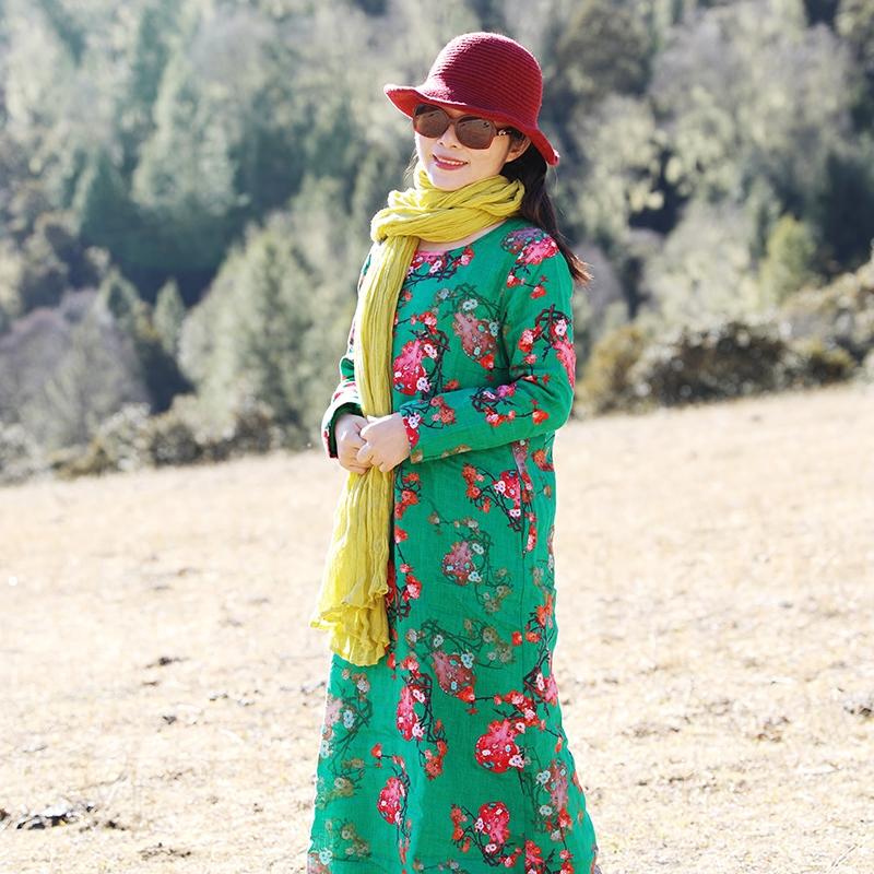 【爱慕】十木米原创2017冬新款旅行文艺亚麻加绒印花连衣裙袍子