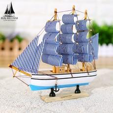 买一送一实木帆船地中海风格装饰摆件 创意模型船工艺品帆船礼品