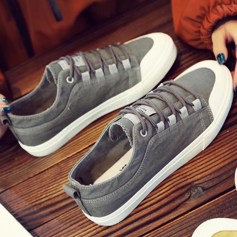 社会小伙透气男鞋子潮鞋2018春夏季韩版新款帆布鞋男士休闲鞋板鞋