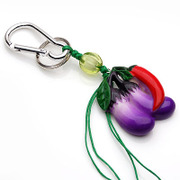 Smiling Eggplant hang hang key rings Korean jewelry pendant jewelry accessory Toys Gifts 351757
