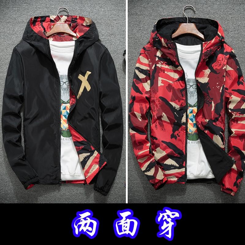 男士秋装外套男春秋款韩版潮流2019新款两面穿学生工装男生夹克