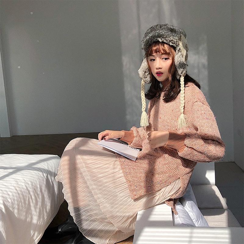 冬新款假两件长款毛衣裙过膝仙女纱裙百褶连衣裙拼接高领开叉毛衣