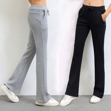 微喇叭裤女秋季新式ge6款学生显xe纯棉运动裤女士休闲裤
