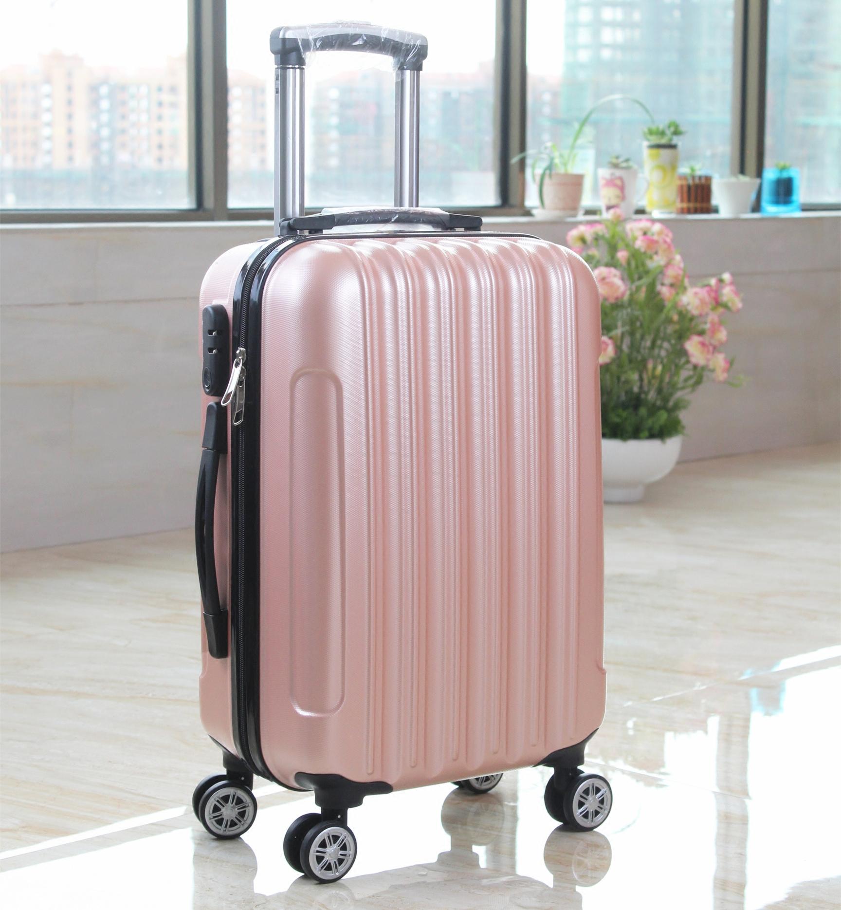 20寸磨砂条纹ABS拉杆箱男女登机箱万向轮商务旅行箱包24寸密码箱
