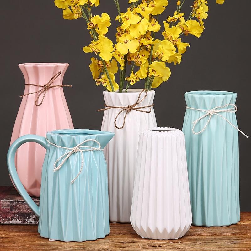 现代 简约 陶瓷 花瓶 清新 摆件 客厅 插花 欧式 落地 创意 干花