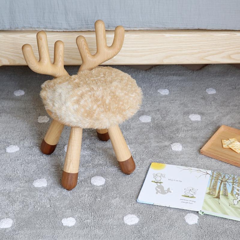 儿童节礼物小鹿凳 白蜡木黑胡桃椅子实木茶几化