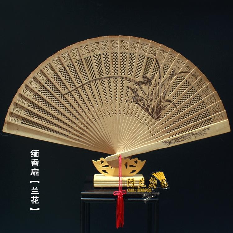 包邮 中国风女士折扇 檀木扇檀香木扇缅香扇子 礼品扇子送老外