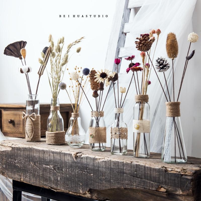 【北花西舍】手工花瓶透明干花花束 家居摆件ins北欧风干花套装