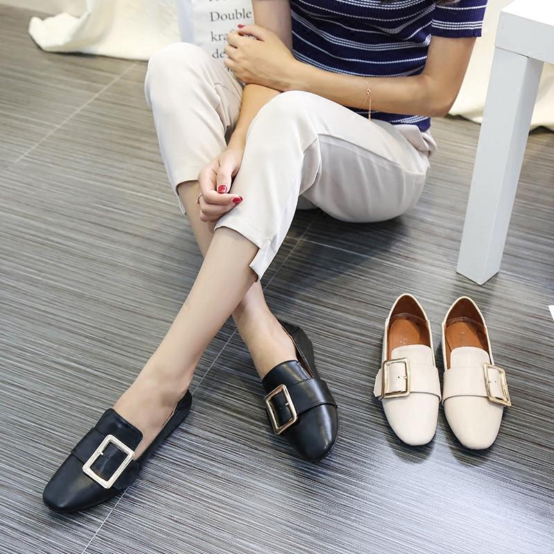 方扣单鞋女夏2017秋季新款浅口平底百搭韩版英伦风黑色复古小皮鞋