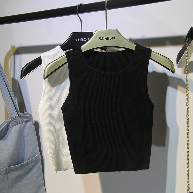 黑色针织吊带紧身背心女外穿泫雅短款无袖t恤夏ins潮高腰学生bf酷